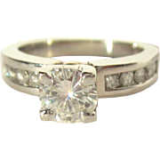 Diamond Ring, 14K, WG, Engagement F Color