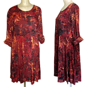 Vintage Batik Print Dress, Rayon Dance Dress