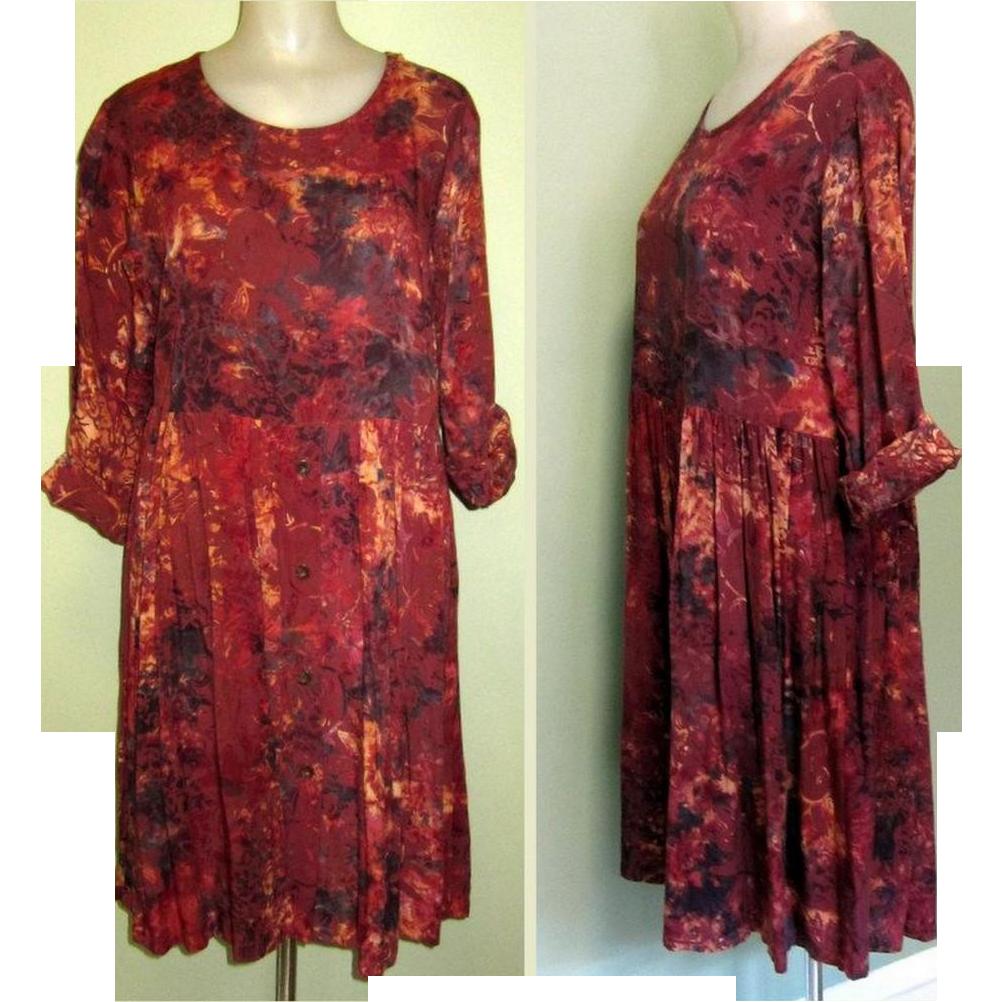 Vintage Batik Print Dress, Rayon Dance Dress From