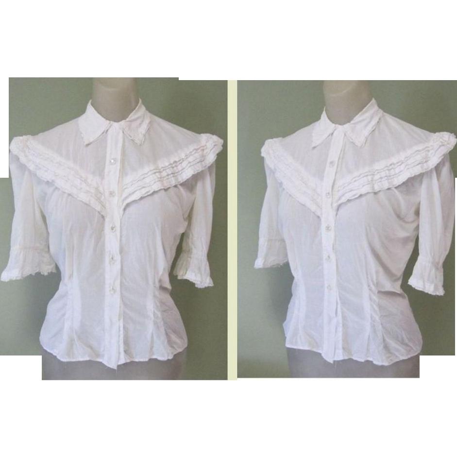 White Vintage Lace Blouse 57