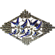 Art Nouveau Brooch, Enamel Birds, Sterling, Marcasite