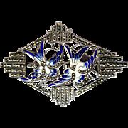 Art Nouveau Brooch, Enamel Birds, Sterling, Marcasite