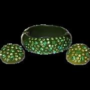 Weiss Thermoplastic Rhinestone Bracelet & Earrings Vintage Clamper