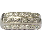 14K Diamond Band / Wedding Ring, Deco 1940's