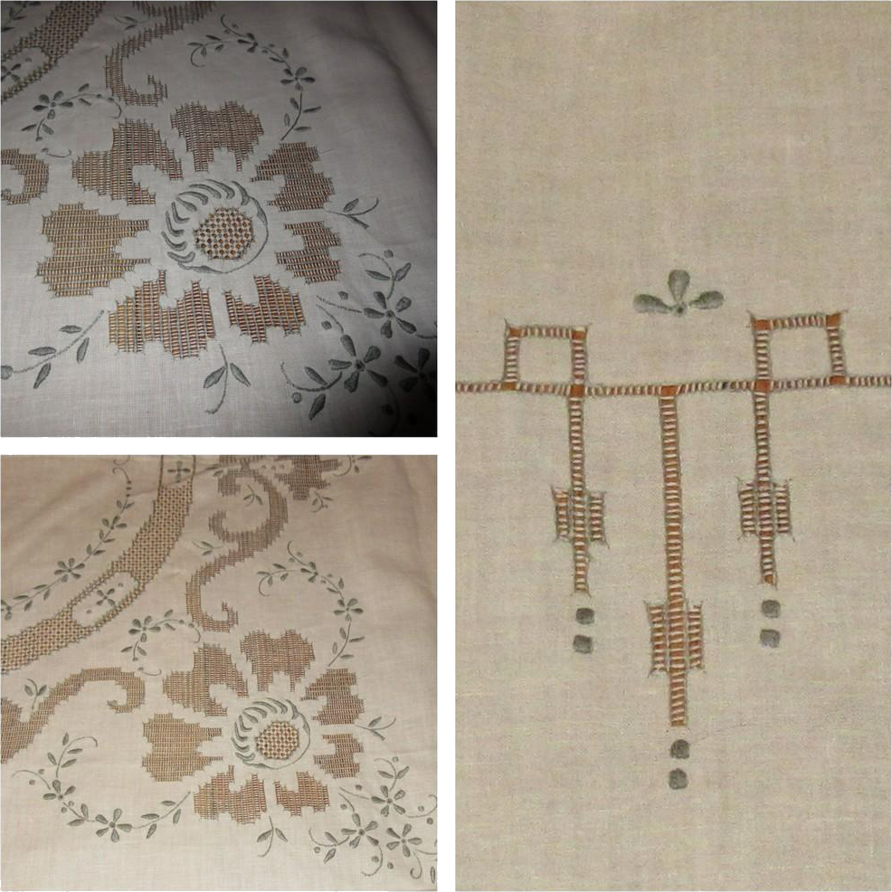 Lace tablecloth napkins vintage linen cutwork for Glass cut work designs