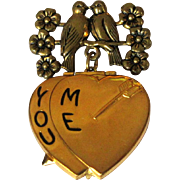 Heart Locket, 1940's Sweetheart, Valentines Brooch