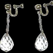 Crystal Earrings, Edwardian Sterling Drop Briolette