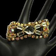 Vintage Rhinestone Bracelet , Large Crystal Stones