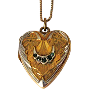 Sterling Heart Locket Necklace, Gold Wash, Box Chain