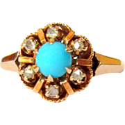 Victorian Diamond Ring, Turquoise, 10K