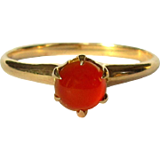 10K Rose Gold Ring, Carnelian, Ostby Barton 1800's