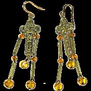 Vintage Filigree Earrings, Long drops, Art Glass