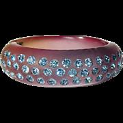 Vintage Rhinestone Clamper Bracelet, Lucite Transparent
