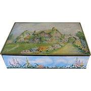 1920's Uneeda Biscuit Tin, Cottage Scene