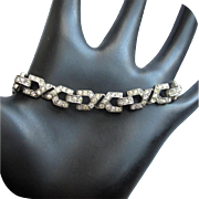 Trifari Rhinestone Bracelet, Sterling, Art Deco Vintage