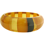 Laminated Bakelite Bracelet, Apple Juice Striped Bangle