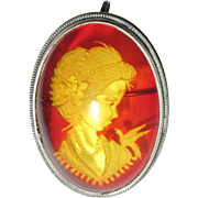 Sterling Amber Pin / Pendant, Reverse Carved Cameo
