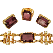Sarah Coventry Twilight Parure, Rhinestone Bracelet, Earrings, Ring