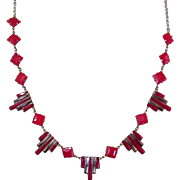 Art Deco Necklace, Red & Black Art Glass, Geometric Jazz Age