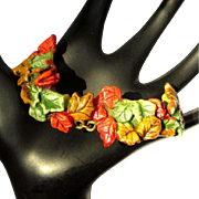 Leafy Celluloid Bracelet, Painted Link & Chain, 1920's