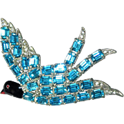 Figural Rhinestone Pin, Enameled Bird Brooch, 1930's