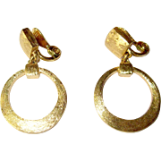 Vintage Gold Hoop Earrings, Monet, Articulated