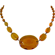 Intaglio Glass Necklace, Art Deco Czech
