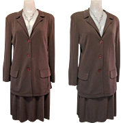 Rayon Knit Suit, 80's German Material, Skirt & Jacket