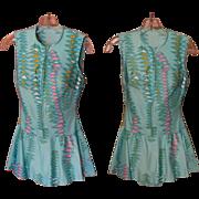 50's Swim Suit, Skirt & Zipper, Vintage Mod Print