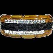 Bakelite Rhinestone Clamper Bracelet, Deco American Prystal