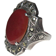Vintage Sterling Marcasite Ring, Art Deco Carnelian