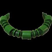 Mid Century Necklace, Plastic Beads, Geometric Green