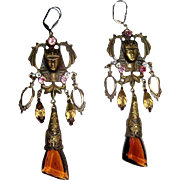 Egyptian Revival Earrings, Vintage Rhinestone Drop, Pididdly