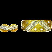 Bakelite Apple Juice Bracelet & Earrings Carved Rhinestone Deco