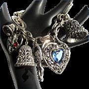 Wedding Charm Bracelet, Vintage Valentine Hearts, Engagement, Anniversary Gift