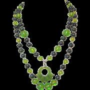 Vintage Bakelite Necklace, Green Apple Juice Beads