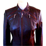 Vintage Leather Jacket, Fitted High End