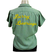 Vintage Bowling Shirt, Women's, 1940's Berry Bearings