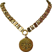 Victorian Book Chain Necklace, Tri Color Gold Filled