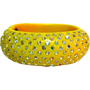 Weiss Thermoplastic Rhinestone Bracelet Art Deco Yellow