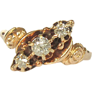 Victorian Diamond Ring, 3 Stone, 9K Gold