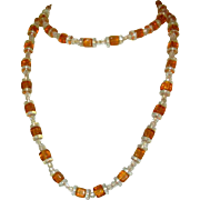 Art Deco Glass Bead Necklace, Flapper 1920's
