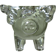 Glass Pig Candle Holder, Vintage