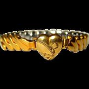 Sweetheart Bracelet, Gold Filled, Art Deco Engraved Heart
