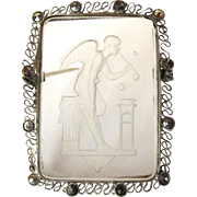 Intaglio Brooch, Marcasite, Vintage Reverse Carved Pin