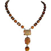 Deco Revival Necklace, Topaz Colored Stones