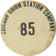 1915 Chicago Union Station Company Pin Back, Antique Button