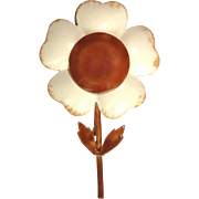 Vintage Flower Pin, Original by Robert, 1960's Enamel Daisy