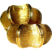14K Gold Bamboo Earrings, Vintage 1940's Hoops
