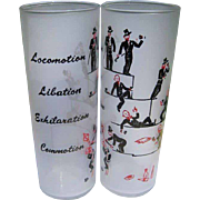 Vintage Cocktail Glasses, Painted Figurals